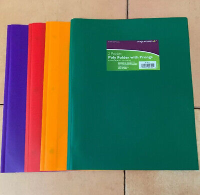 Wexford 2 Pocket Poly Folder With Prongs Assorted Colors Lot Of 4 G