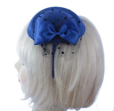 Azul Mini Sombrero Flores Diadema Boda Carreras Tocado