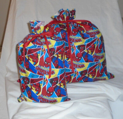 Spiderman Design Homemade Fabric Gift Bag with Attached Ribbon