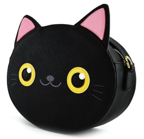 New LOUNGEFLY BLACK CAT Crossbody Bag Purse PINK EARS Kitten Faux Leather