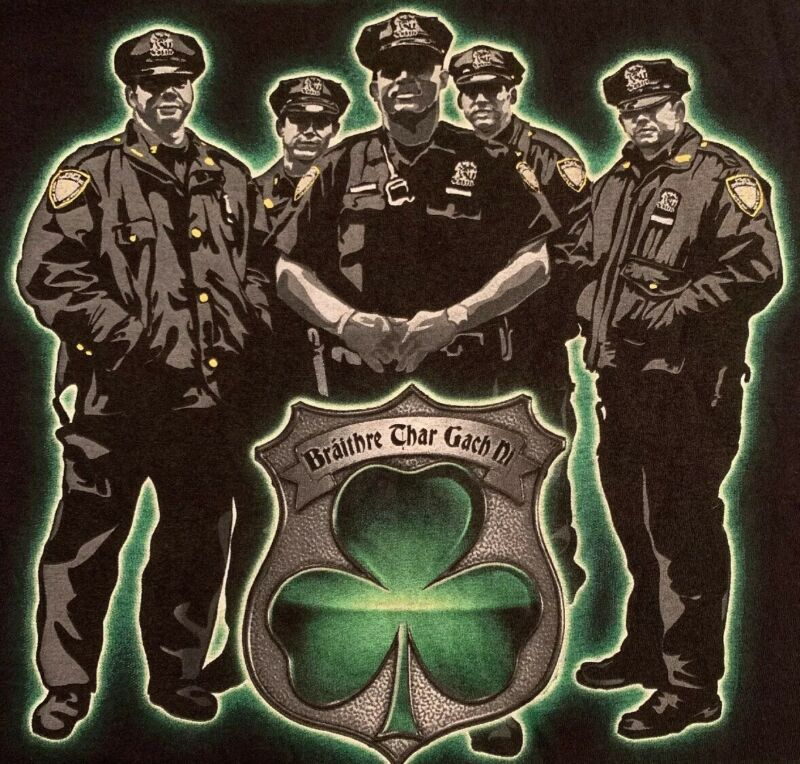 NYPD New York City Police Department T-Shirt Sz XL New IRE Irish Emerald Society