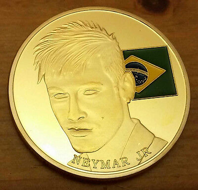 Neymar Jr Gold Coin Medal Latin South America Brazilian Rio Olympics Golden Boy