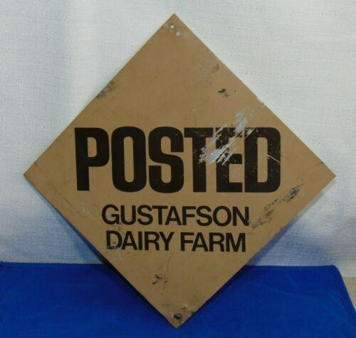 Vintage Historic Gustafson Dairy FARM Posted Metal Farm SIGN