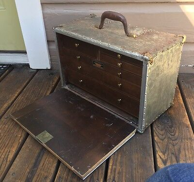 Antique Industrial Metal Clad & Wood Union Tool Box Machinist Chest
