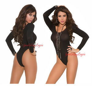 Scoop Neck LONG SLEEVE LEOTARD Teddy OPAQUE BODY SUIT Snap Crotch NYLON OS