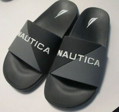 Nautica Boys Youth size 2M Black & Gray Comfort Padded Slide Sandals Excellent