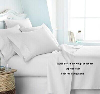 (7) PIECE SPLIT KING SIZE SUPER SOFT DEEP POCKET SHEET SET BED SHEETS  (Super King Bed Set)