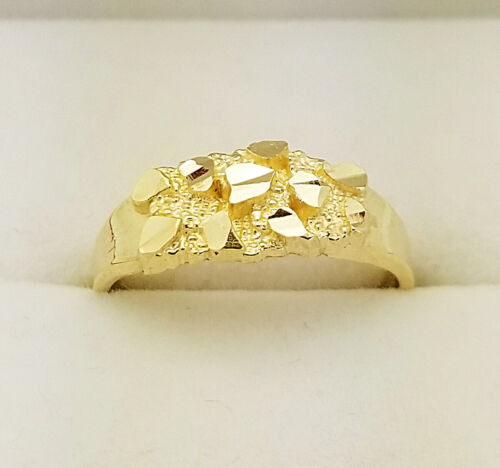 10K Yellow Gold Small Nugget Ring For Women Kids