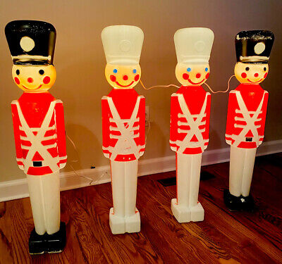 RARE Lot Of 4 Vintage Blow Mold Light Up Toy Soldiers Nutcracker CHRISTMAS