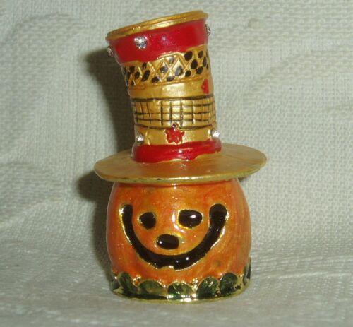 Russian Сollectible Handpainted Decorative Enamel Thimble Mr. Pumpkin Halloween