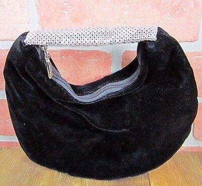 La Regale brand black velour soft clutch handbag evening bag metal strap EUC