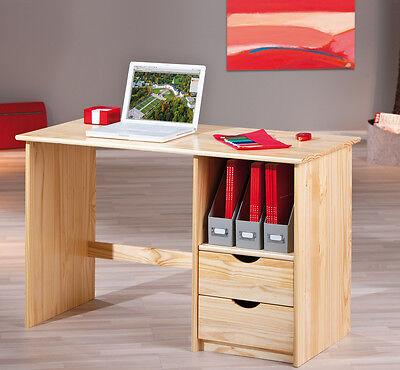 SCHREIBTISCH Kiefer massiv - farblos lackiert, 2 Schubkästen, Tastaturauszug NEU - Schlafzimmer Lackiert Schreibtisch