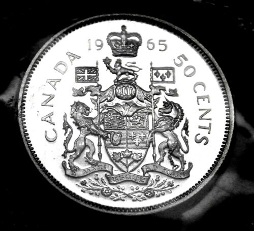 Canadian 1965 50¢ silver prooflike coin in original mint cellophane