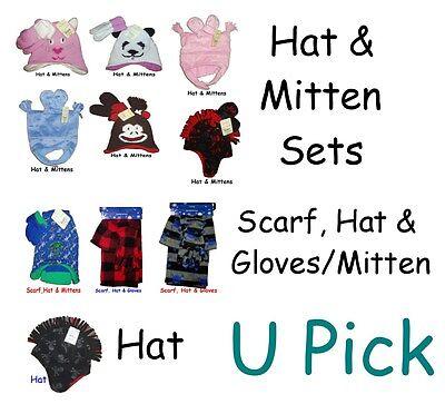 Hat Mittens 1 2 3 Piece Set Winter Warm U Pick Gloves Baby Kids Girls Boys
