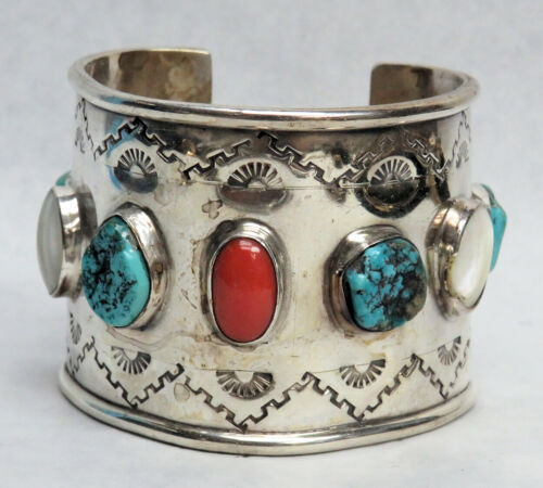 NAVAJO WIDE CUFF STERLING SILVER TURQUOISE, CORAL & WHITE AGATE STONES