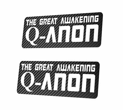 2X QANON - The Great Awakening Sticker Aufkleber 25x10 cm Trump 17 Q-Anon Carbon