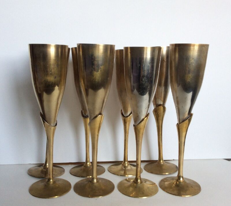 "Set 8 Gorgeous Heavyweight Silverplate &Brass Goblets Vtg India 9.5"" Tall~RARE"