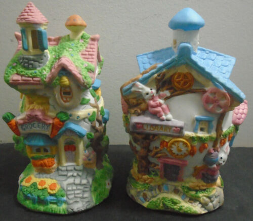 VINTAGE CERAMIC EGG HOUSE COLLECTION LOT OF 2 LIBRARY + GROCERY HAND PAINTED