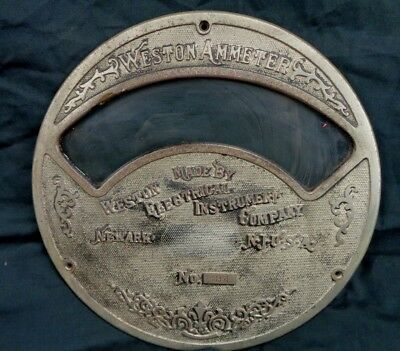 Late 1800s Vintage 8-12 Diameter Weston Ammeter Face Newark Nj. Usa