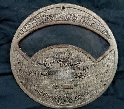 Late 1800s Vintage 8-12 Diameter Weston Ammeter Face Newark Nj. Usa
