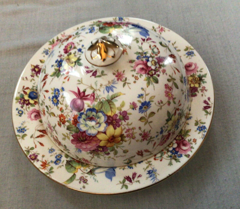 RARE Vintage HAMMERSLEY Bone China FLORAL ROSE CHINTZ Covered Dish Pancake 3257