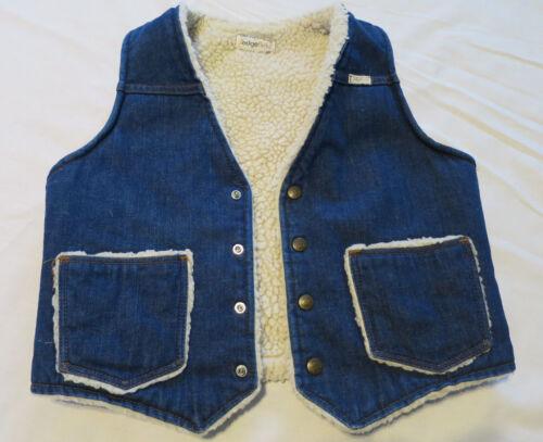 Vintage Blue Jean Denim Sherpa Vest Youth Lg 20   USA