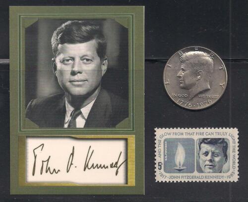 JOHN F KENNEDY JFK - AUTOGRAPH CARD + BICENTENNIAL HALF DOLLAR + MEMORIAL STAMP