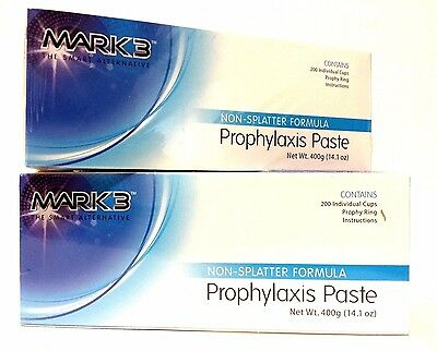 2x Prophy Paste Non-spaltter Medium Assorted Total Of 2 X 200cups By Mark3