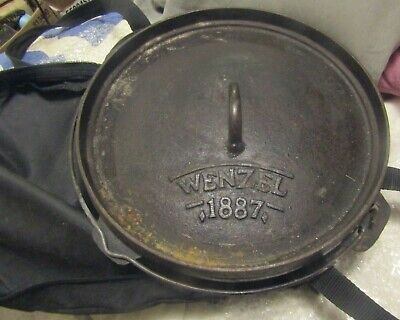 PRE-OWN WENZEL 1887 CAST IRON DUTCH OVEN W/ LID TRIVET & LIFTER IN CARRYING (Dutch Oven Lid Lifter)