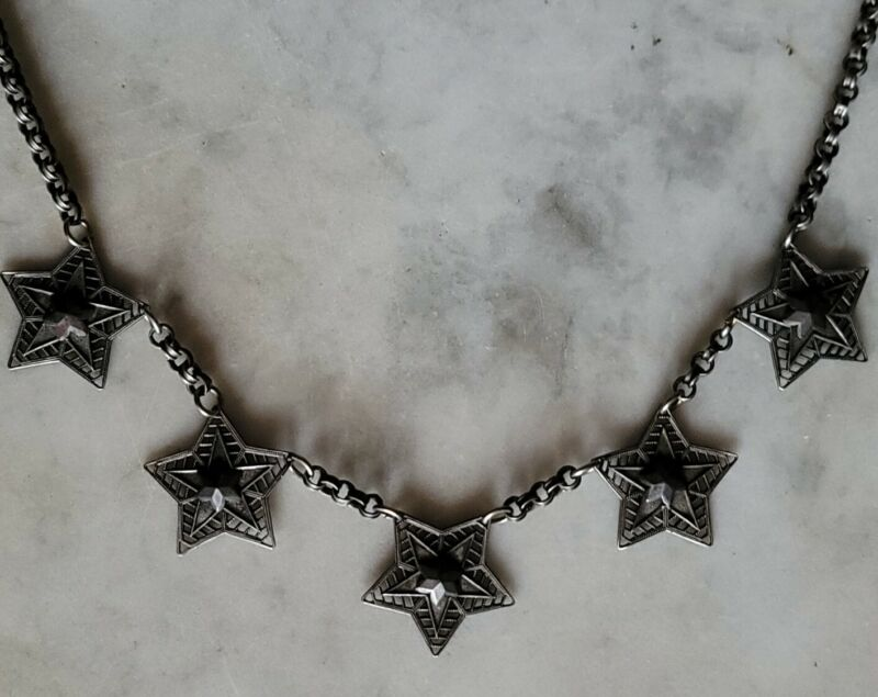 """Antique Late Victorian Star Necklace with Cut Steel Stars ~17"""""""