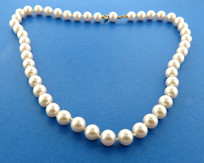 """Vintage Marvella Faux Pearl Necklace Strand 8mm 18"""" Knotted"""