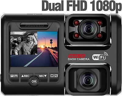 Pruveeo D30H Dash Cam with Infrared Night Vision and WiFi, Dual 1080P