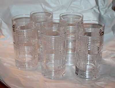 5 Ralph Lauren Crystal Glen Plaid Tall Highball Whisky Glasses Rich!