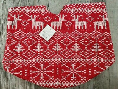 "Target White Knit Snowflake Tree Reindeer Red Felt 18"" Mini Tree Skirt"