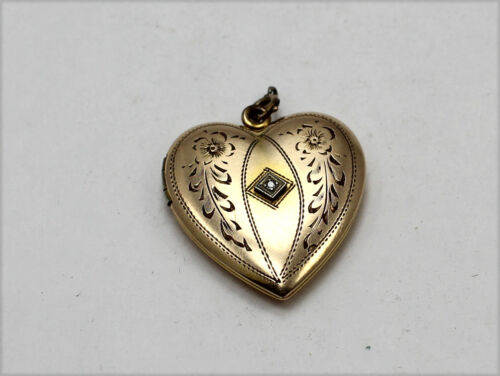 Vintage Gold Tone Heart Locket Pendant with Floral Design & Clear Stone