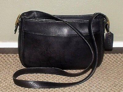 Vintage COACH Black Leather CHELSEA Crossbody Shoulder Bag Purse #6000