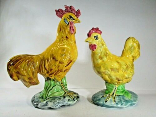 """Stangl Pottery """"Birds"""" Medium Hen and Rooster Pair #3446 and #3445 1940-1958 USA"""
