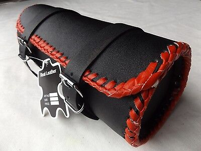 BRAND NEW DESIGN QUALITY MOTORCYCLE MOTORBIKE LEATHER TOOL ROLL SADDLE BAG TR5