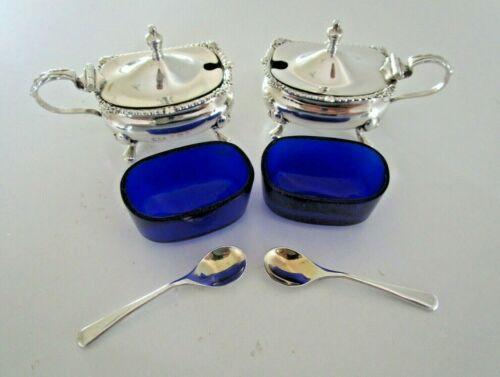 Pair Sterling Silver Mustard Pots, Hallmarked Birmingham 1920