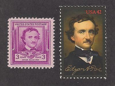 (EDGAR ALLAN POE - U.S. POSTAGE STAMPS - ISSUED IN 1949 & 2009 - MINT CONDITION)