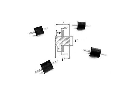 4 Rubber Vibration Isolator Mounts 1 Dia X 1 Thick 14-20 X 34 Long Studs