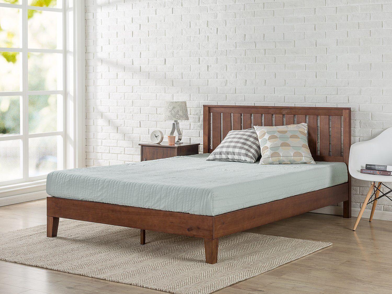 Modern King Size Solid Wood Platform Bed Frame Set W/ Headbo