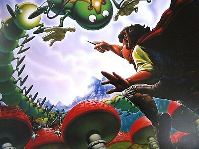 Vintage Atari Art Poster 2 Sided Centipede Asteroids Arcade Game Man Cave