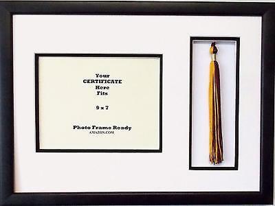 Graduation Certificate Diploma 9x7 Black Shadow Box Frame with Tassel Holder covid 19 (Graduation Shadow Box coronavirus)