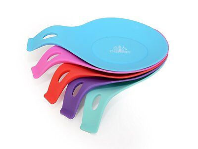 Silicone Fork Spoon Rest Heat Resistant Teabags Tidy Holder Cooking Utensil Dish
