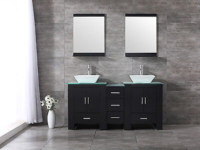 "60"" Double Ceramic Sink Bathroom Vanity Cabinet Solid Wood Modern w/Mirror Black"