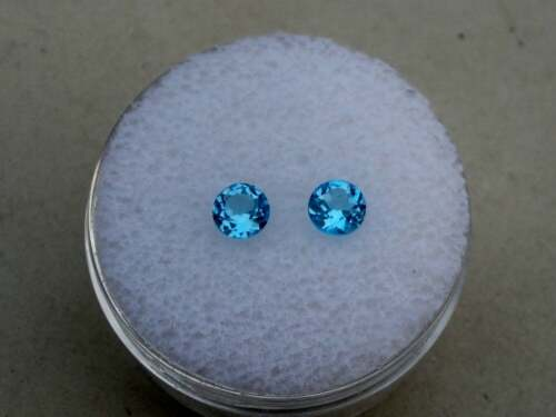 Swiss Blue Topaz Round Loose Faceted Natural Gem Pair 5mm