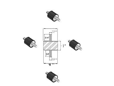 4 Vibration Isolation Mounts 1 Dia X 1 Thk 516-18 X 34 Long Studs Mm