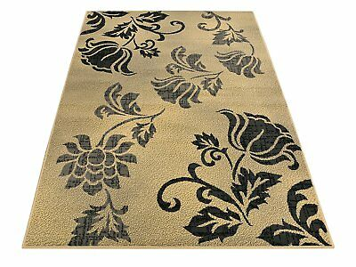 Gray Black and Beige Modern Flowers Floral Design Area Rugs Rug 5x7 5 x 7 5 by 7 ()