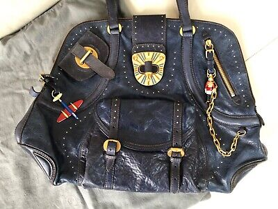 Authentic Alexander McQueen Blue Leather Bag With English Charms And Style